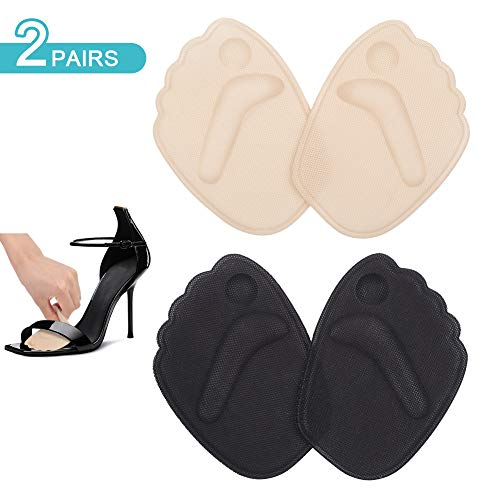 Einlegesohlen Vorfuß High Heel Kissen, Vorfusspolster Gel Vorfuß Metatarsal Pad High Heel Kissen Einlage Selbstklebende Einlegesohlen Schmerzlinderung für Frauen (2 Paare - Haut/Schwarz)