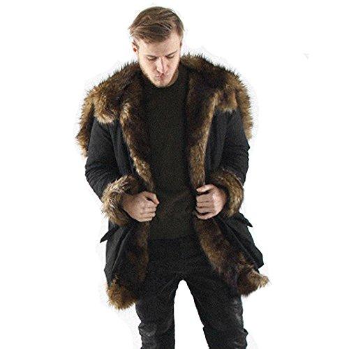 UJUNAOR 2018 Winter Herren Faux Pelz Kapuzenmantel Jacke Warme Plus Dicker Langer Mantel Hoodie(Schwarz,CN M)