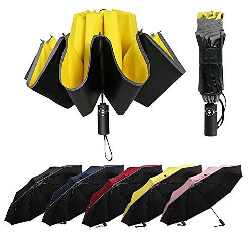 Zfq ombrello pieghevole automatico, ombrello da golf 120cm, antivento resistenza pioggia ombrello con 10 stecche rinforzate, portatile compatto ombrello da viaggio per uomo e donna, upf 50+
