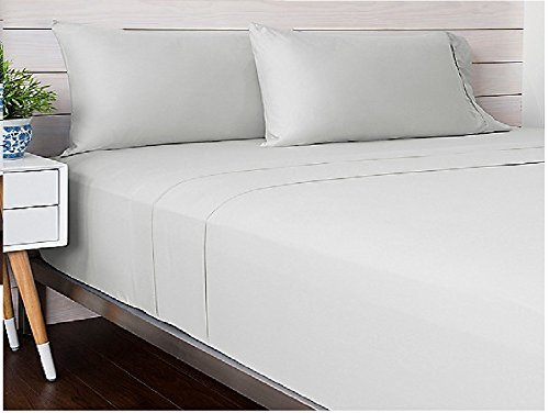 Livingston Home Solide Satin tc-400 Baumwolle King-Bettlaken-Set, weiß, silber, King Size