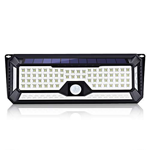 Luce Solare 136 LED, Fityou Lampada Solare da Esterno, Luci Senza Fili di 4 Lati con Ampia Area di Illuminazione, Super Luminoso Luci di Sicurezza e Impermeabili per Giardino, Parete, Terrazzino