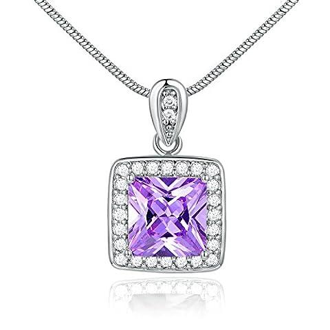 gulicx électroplaqué or blanc carré Couleur Améthyste CZ Collier Pendentif Cristal Violet Améthyste couleur