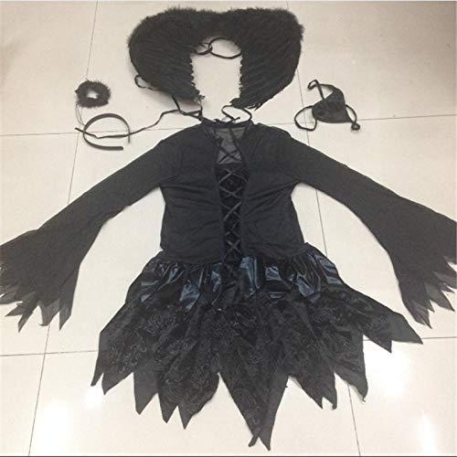 wnddm Halloween sexy schwarz Engel weiß Engel kostüm mit flügeln Erwachsenen Vampir Cosplay Dress Party Scary elf Tag der Toten Kleidung@Schwarz_M