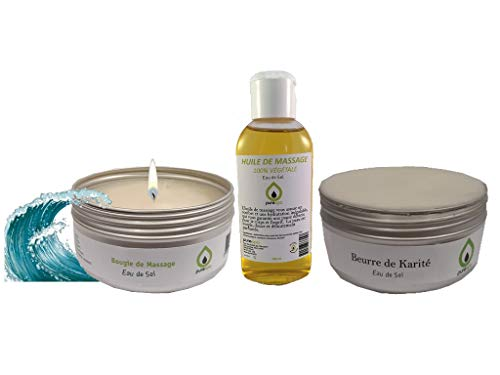 Kit coffret cadeau massage sensuel bien être Thalasso Eau de sel, avec 1 Bougie de massage, 1 huile de massage en spray, 1 beurre de karité, 1 trousse