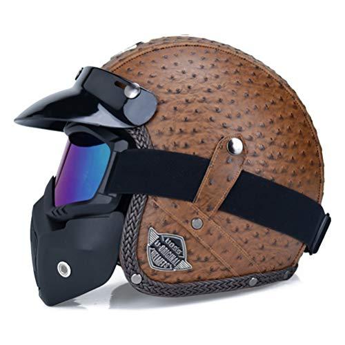 Casco moto retrò vintage Chopper Scooter in pelle sintetica a faccia aperta Casco Moto Casco Dot Dotete maschera occhiali