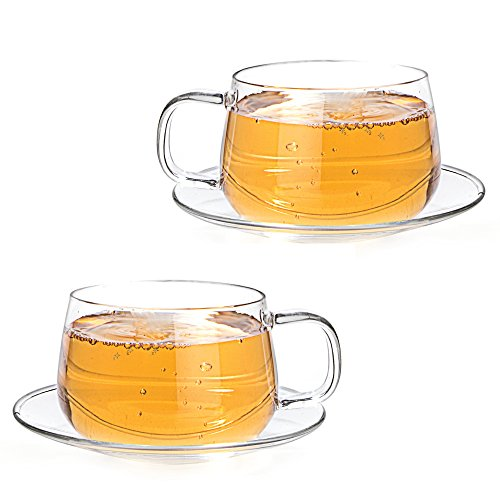 Tealyra - La Lune - 300ml - Set of 2 - Glass Tea and Coffee Cups with Saucer - Clear and Lightweight Glasses
