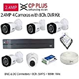 CP PLUS 8-CHANNEL DVR KIT WITH 2-TB HARD DISK , 1-PC 2.4MP DOME CAMERA , 4-PC 2.4MP BULLET CAMERA, 8-CH POWER SUPPLY ,WITH BNC/DC CONNECTORS & WIRE ROLL COMBO PACK.