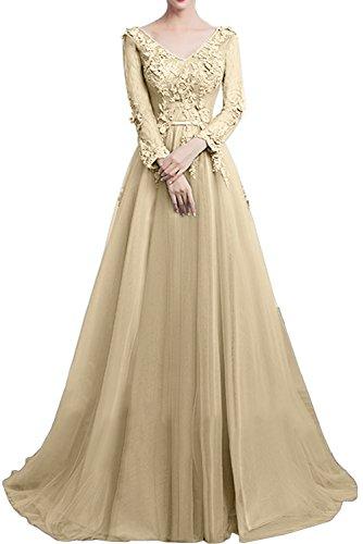 Gorgeous Bride Traumhaft Brautmutterkleider A-Linie Satin Tüll Spitze Lang Ärmeln Abendkleider Lang Cocktailkleider Ballkleider Champagner