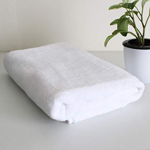 Heelium White Cotton Bamboo Bath Towels for Home, Hotel & Spa, Super Soft Absorbent Antibacterial, 600 GSM, Full Large Size