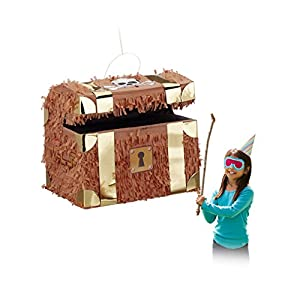Relaxdays Pinata Schatzkiste, zum Aufhängen, Kinder, Mädchen, Jungs, Geburtstag, Befüllen, HxBxT: 27 x 30 x 23 cm, braun