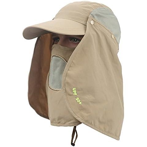 Sumolux UV 50+ Sombrero Gorra con Visera Transpirable Pesca Con Alas y Máscara Extraíble Protege Cuello Caqui