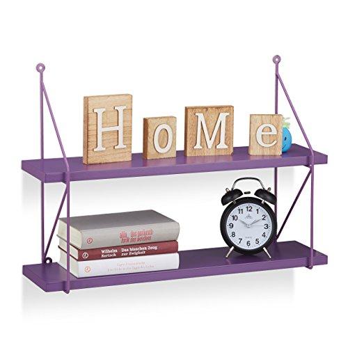 Relaxdays appendere mensole da parete, ripiani libreria h x w x d: 42x 60x 16cm, viola