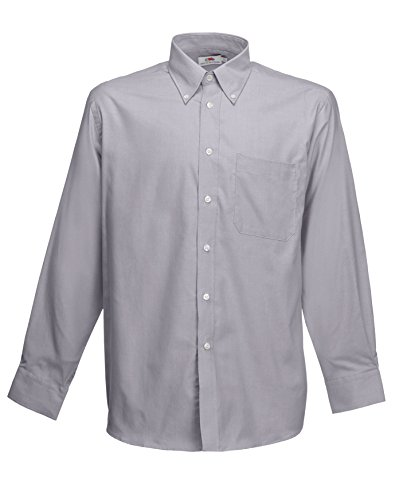 Chemise à manches longues Fruit Of The Loom pour homme Oxford Grey