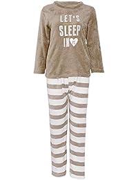 Set De Pyjama Femme Velours Épais Pyjamas Lettre Imprimé Rond Col Manches  Longues Tops Rayures Taille Élastique… e2693a94728