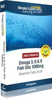 SimplySupplements High Strength Omega 3 6 9 1000mg | 120 Capsules | Blister Pack | 100% money back guarantee | Manufactured in the UK