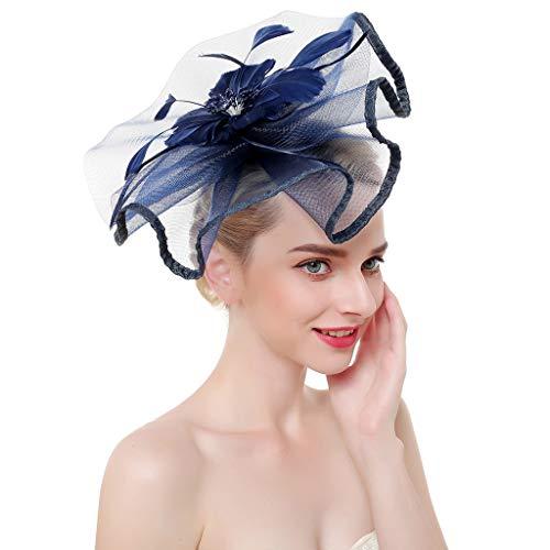Vivianu Große Rüschen Blume Feder mit Perlen für Derby-Tee Party Fascinator Hut Hochzeit Kontraste Haarklammer Marineblau