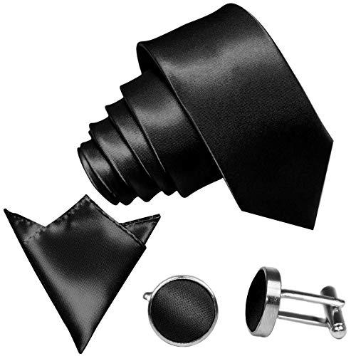 GASSANI 3-SET Krawattenset, 8,5Cm Breite Schwarze Herren-Krawatte Schmal Manschettenknöpfe Ein-Stecktuch, Bräutigam Hochzeitskrawatte Glänzend