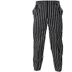 Freahap Pantalones de Chef Unisex para Hombre Mujer M a 3XL Pantalones para cocinar Raya blanca negra M