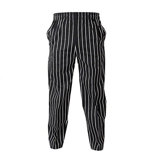 Jiyaru Arbeitsanzug Hosen Küchen Hotel Chef Hosen Schwarzer weißer Streifen XL (Neue Taille Uniform Elastische Weiße)