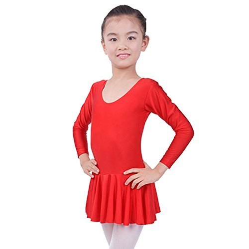 Sunching Kinder langärmlige Praxis Rock Ballett Latein Tanzkleid rot XXXL