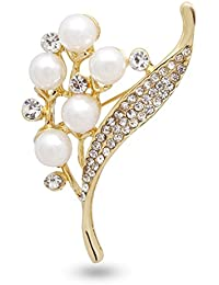 Panjatan Wave Of Beauty Crystal And Pearls Studded Alloy Brooch For Men And Women By WI Retail