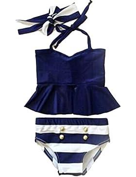 MagiDeal Bambini Neonate 2pcs Tankini Bikini Costumi da Bagno con Fascia per Capelli, Testa
