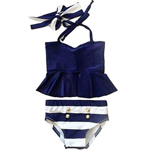 Kinder Baby Bikini Tankini W / Stirnband Badebekleidung Badeanzug 100 Eingestellt - wie bild, 90