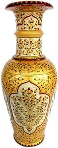 "12"" Jaipuri Gold Painted Indian Marble Flower Vase Pot"