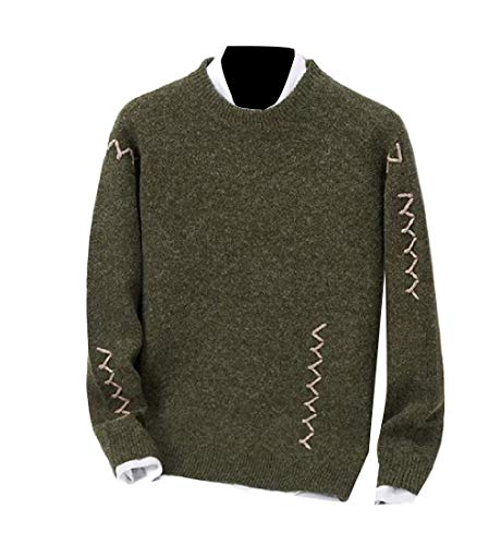 CuteRose Mens Round Neck Casual Long-Sleeve Slim Knit Stylish Pullover Sweater Green M (Green Pullover Crewneck Wool)