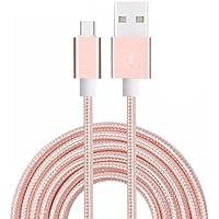 Aventus (Rose Gold) Micro USB Cavo di Nylon Intrecciato per Caricabatterie e Trasferimento di Dati con Lunghezza di 3 Metro Adatto al Acer Liquid E600