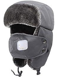 Unisex orejeras Hombre Mujer gorro ruso deporte esquí snowboard Equitation  pasamontañas orejeras pelo sintético térmico sombrero c290b611d1a