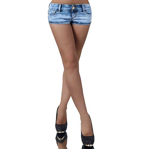 L013 Damen Jeans kurze Hose Damenjeans Hüftjeans Hot Pants Shorts Panty, Farben:Blau;Größen:36 (S)