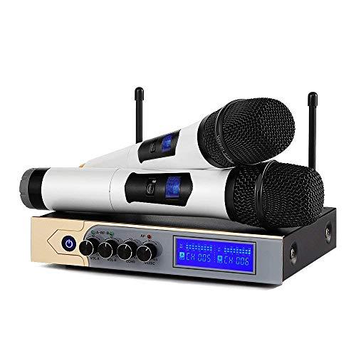 bluetooth Mikrofon, Moreslan UHF Professionelles Funkmikrofon Set Karaoke Drahtloses Dual Mikrofon & LCD Display für Karaoke Party Hochzeit, Meeting -
