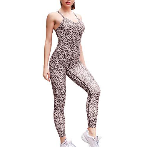 OEAK Damen Sport Jumpsuit Rückenfrei Yoga Bodysuit Overall Gefaltet Leggings Sporthosen Bandage Playsuits Jogging Strampler Hosenanzug Trainingsanzug (S, Gelbes Leopardenmuster)