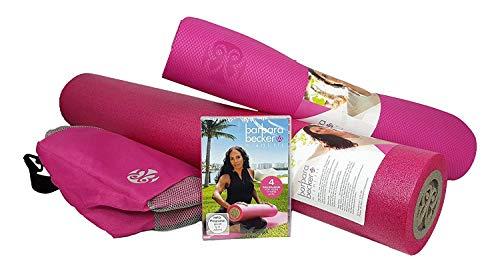 Barbara Becker Fitness-Set Fitness DVD   Miami Fit   Faszienrolle   Foamrolle   Yogamatte   Tasche   Farbe pink