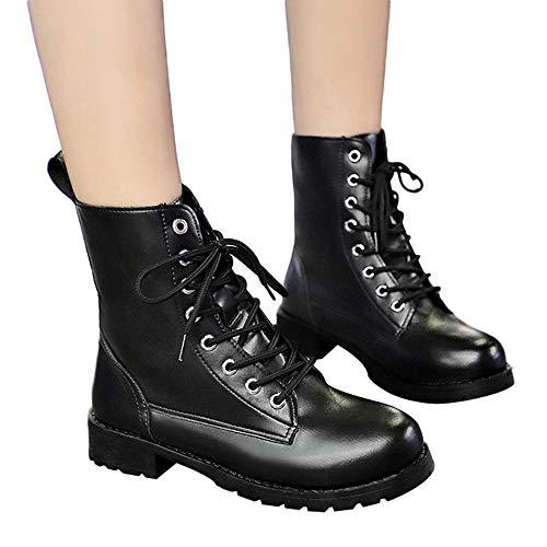 TianWlio Boots Stiefel Schuhe Stiefeletten Frauen Herbst Winter Runde Zehenlederschuhe Flache Booties Schnürstiefel Freizeit Schuhe Weihnachten Schwarz 42