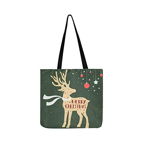 Christmas Deer Merry Christmas Quote Canvas Tote Handbag Shoulder Bag Crossbody Bags Purses For Men And Women Shopping Tote