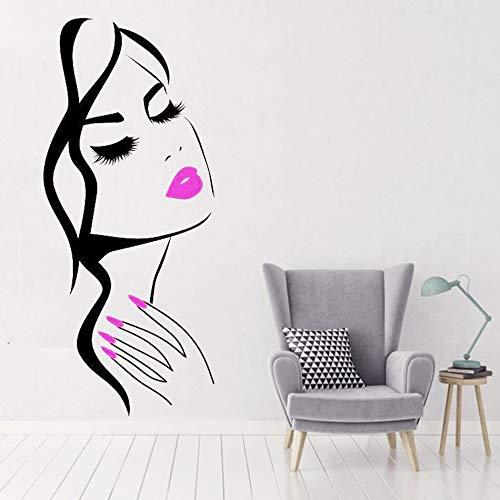 hetingyue Friseursalon Vinyl Kunst wandaufkleber schönheit nagelstudio schönheit Applique mädchen Gesicht frisur frisur 75x165cm