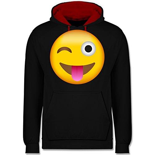 (Comic Shirts - Emoji herausgestreckte Zunge - S - Schwarz/Rot - JH003 - Kontrast Hoodie)