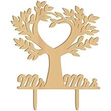 WINOMO Topper Torte Cuore Albero Mr Mrs Lettere in Legno Decorazioni Torta Decorazione Matrimonio
