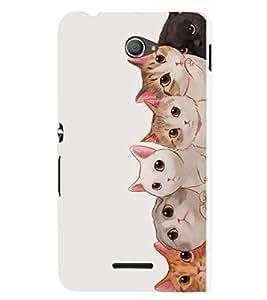 FUSON Gang Of Cats 3D Hard Polycarbonate Designer Back Case Cover for Sony Xperia M4 Aqua :: Sony Xperia M4 Aqua Dual