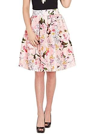 SASSAFRAS Women's Silk Flared Skirt (SFSKRT3029-XL, Pink)