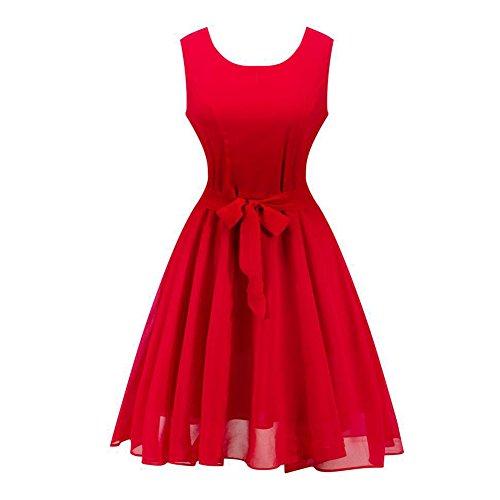 ESHOO Femmes Robe Elégant Audrey Hepburn Vintage année 1950 Rockabilly Swing Rouge