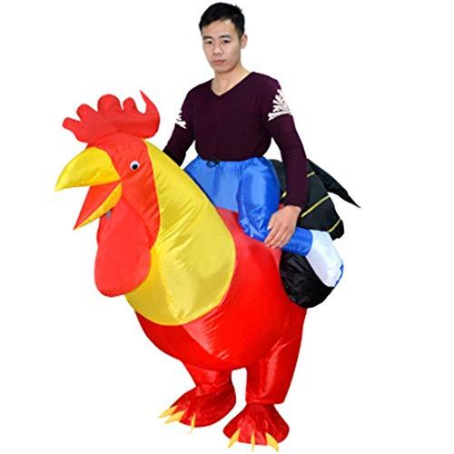 Aufblasbares Kostüm Huhn Kostüm Reitkostüm für Halloween Karneval Fastnacht Fasching Kostüm Erwachsenenkostüm Huhn für Erwachsene Dress up Cosplay Kostüm Anzug Party Kostüm Fasching Karneval - Huhn Anzug Kostüm