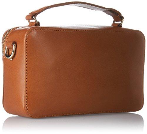 Tommy Hilfiger Fashion Hardware Leather Mini Crossover, Borsa a Tracolla Donna, 6x13x17 cm (W x H x L) Marrone (Cognac)