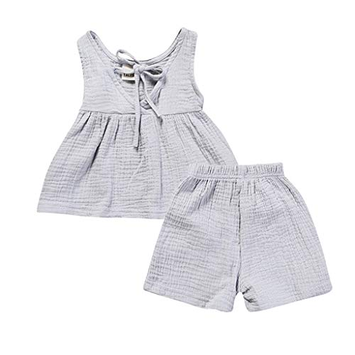 Nationale Kostüm Stiefel - JUTOO 2 Stücke Set Kinder Baby Mädchen Sleeveless Backless Solides Kleid Tops + Shorts Set Outfit (Grau,100)