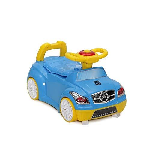Moni Töpfchen 2 in 1 Auto blau Lenkrad, Räder, Hupe, Deckel abnehmbarer Behälter