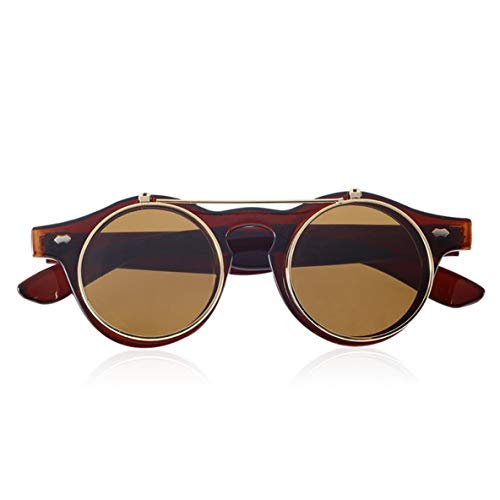 Noradtjcca Klassische Steampunk Goth Brille Brille Runde Flip Up Sonnenbrille Retro Vintage Mode Accessoires Modetrend Runde Brille