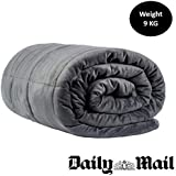 WEIGHTED BLANKET 9.1 kg Sootha Sleep, XL, Peach-Skin, Ultra Premium Therapeutic Heavy Blanket, Reversible, Calm Anxiety/Sensory,uses Earth's Gravity-152x203cm,20lbs-Washable-Grey-XL, Adults over 70kg