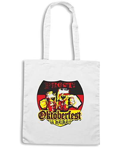 T-Shirtshock - Borsa Shopping BEER0100 oktoberfest is here white tshirt Bianco
